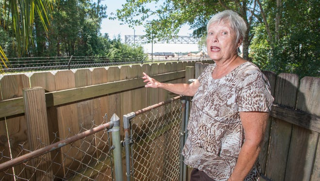 Ann Rejda discusses the VT Mobile Aerospace Engineering Inc. hangar that is being built on airport property just beyond her backyard in Pensacola on Monday, June 26, 2017.