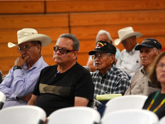 Navajo veterans listen during a town hall meeting Thursday at the Walter Collins Center in Upper Fruitland.