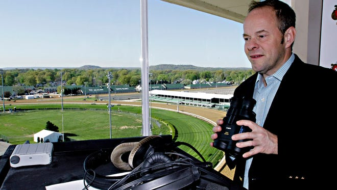 Larry Collmus, who announced races at Churchill Downs last year, starts April 1 on the New York circuit.