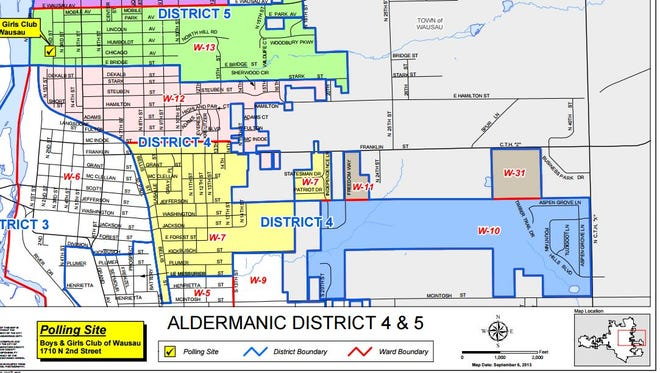 Wausau's City Council District 4 is marked with a blue outline. It encompasses part of the city's east side.