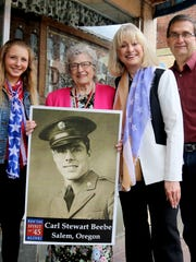 From left, Anna Tinseth, Joy A. Beebe, Barbara Jensen and Terry Pilsner came by to promote the Spirit of '45 day honoring World War II service members as well as commemorating sea-born troops who served at Pearl Harbor. The event will be held Aug. 14 at Willamette National Cemetery in Portland. This December marks the 75th anniversary of the attack at Pearl Harbor, Hawaii.