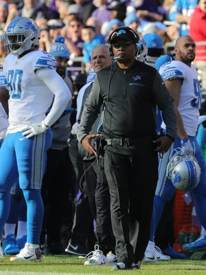 Coach Jim Caldwell on the sideline in the second quarter of the Lions' 44-20 loss to the Ravens on Sunday, Dec. 3, 2017 in Baltimore.