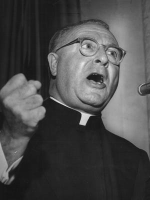 "The Rev. Charles Coughlin, known as the Radio Priest, founded the parish in 1926 and did his national radio broadcasts from National Shrine of the Little Flower's tower. The church's website says he made anti-Semitic commentaries that supported ""some policies of Adolf Hitler and Benito Mussolini"" until he was forced off the air in 1940."