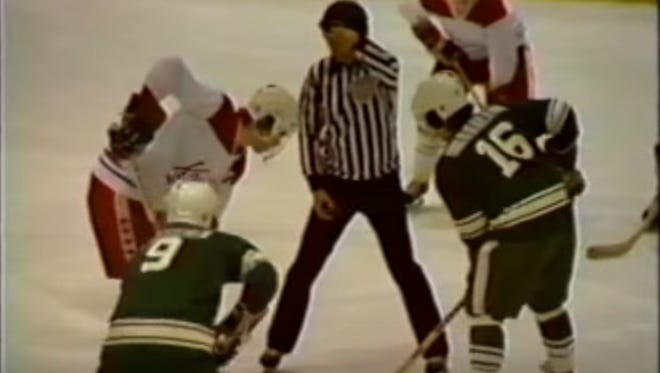 Screen shot from the broadcast of the 1978 New Jersey State Hockey final bewtween Livingston and West Essex.
