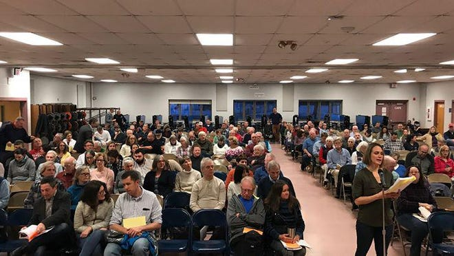 Stratham's Town Meeting will look a lot different Saturday as town officials plan to erect outside tents to allow for social distancing.