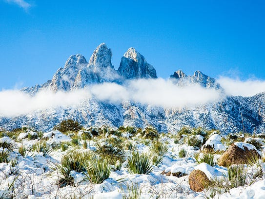 The Organ Mountains covered in snow. Amateur photographers