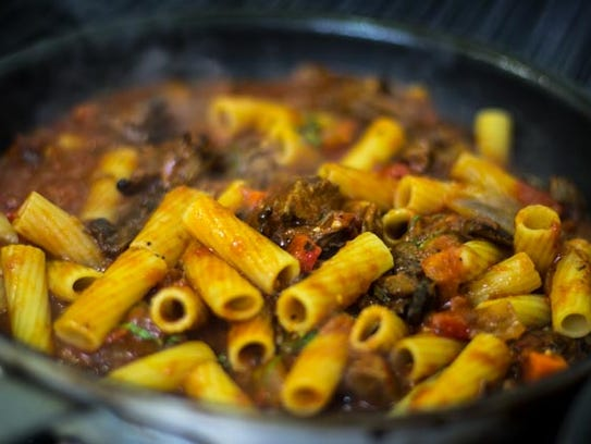 The short-rib bolognese rigatoni is among MOXIE's many pasta dishes.