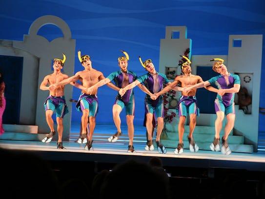 """Male cast members in Riverside Theatre's """"Mamma Mia!"""""""