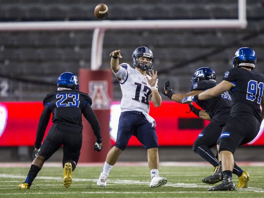 Perry's Brock Purdy passes against Chandler in the 2nd quarter during the 6A Arizona State Championship on Saturday, Dec. 2, 2017, at Arizona Stadium in Tucson, Arizona.