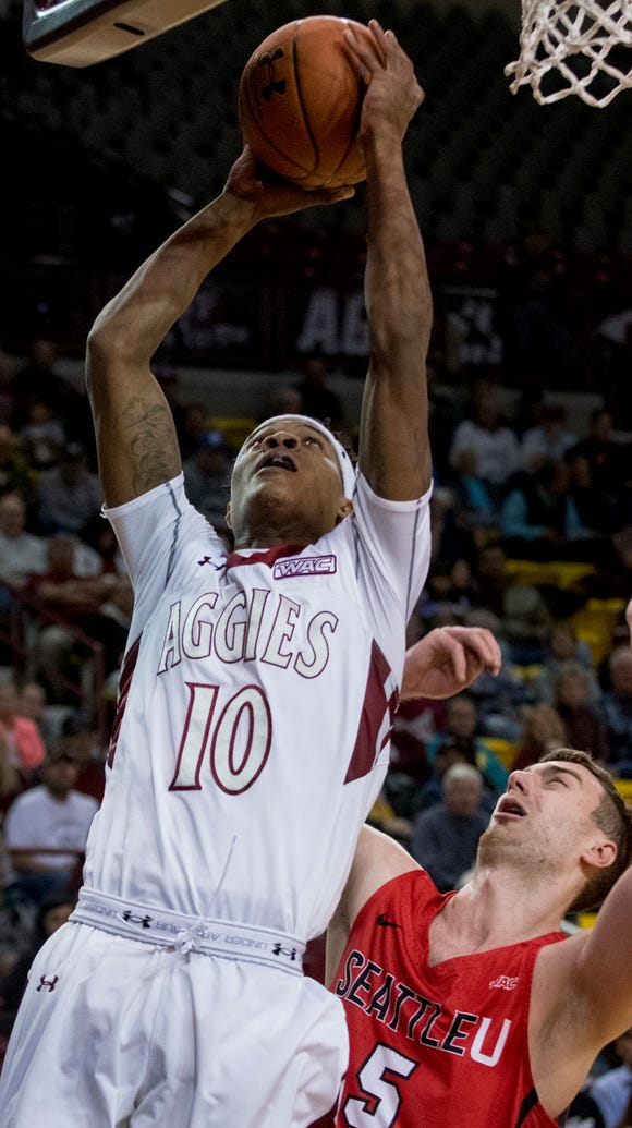 New Mexico State senior forward Jemerrio Jones gets