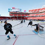 A general view of the San Jose Sharks during practice