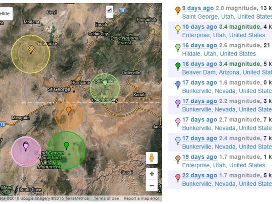 A series of earthquakes have been recorded in and around southwest Utah in recent weeks - a fairly common occurrence in the seismically active region.