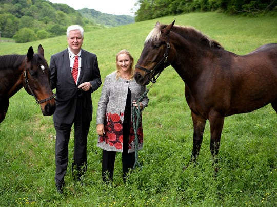 Andrew and Marianne Byrd with their horses on the their