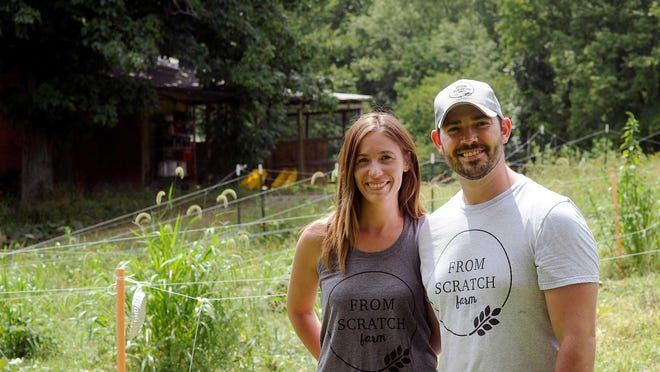 First-generation farmers Kim and Taylor Wiggins bought an organic farm a year ago when the previous owners retired. The coronavirus pandemic interrupted their plans to market their produce widely, but as From Scratch Farm they have started offering online sales and have donated more than 500 pounds of fresh produce to the Mid-Ohio Foodbank.