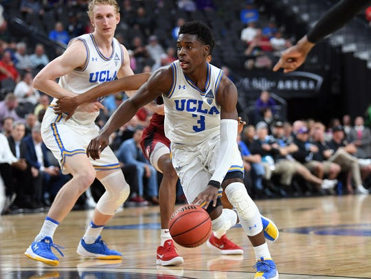 UCLA Bruins guard Aaron Holiday (3) drives the lane