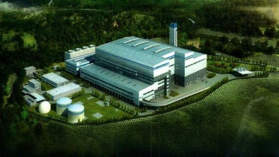 An artist's rendering shows the proposed trash incinerator in Romulus.