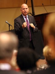 Gov. Jack Markell speaks to an audience at the Governor's Entrepreneurial & Small Business Conference Tuesday morning.