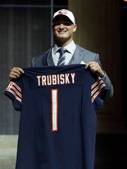 North Carolina's Mitch Trubisky after being selected