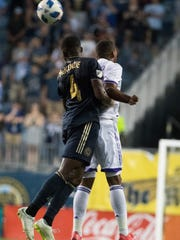 Delaware native and Philadelphia Union defender Mark McKenzie in action against Orlando City in the Lamar Hunt U.S. Open quarterfinals at Talen Energy Stadium.