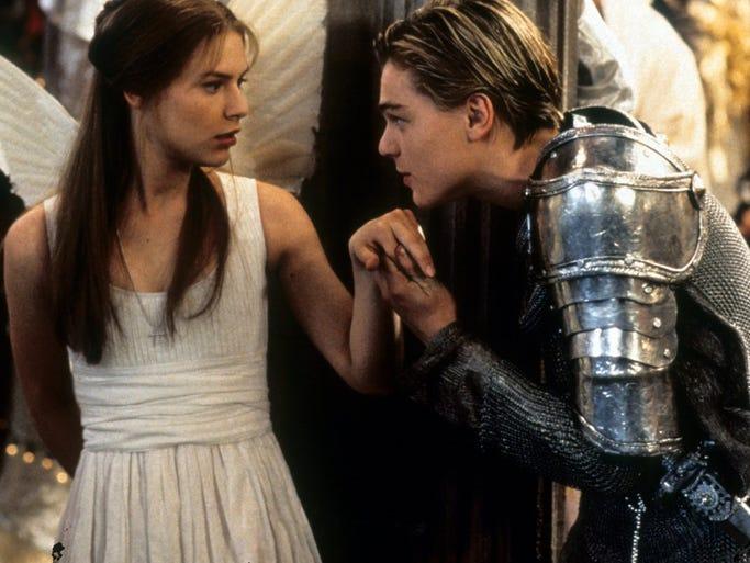 "Claire Danes and Leonardo DiCaprio in a scene from ""Romeo + Juliet"" (1996)."