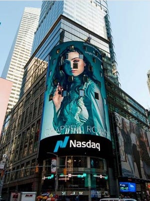 On April 22, 2018, pop singer Chappell Roan graced the 7-story Nasdaq MarketSite digital billboard located at 4 Times Square in New York City. It's estimated that Times Square attracts 330,000 tourists per day.