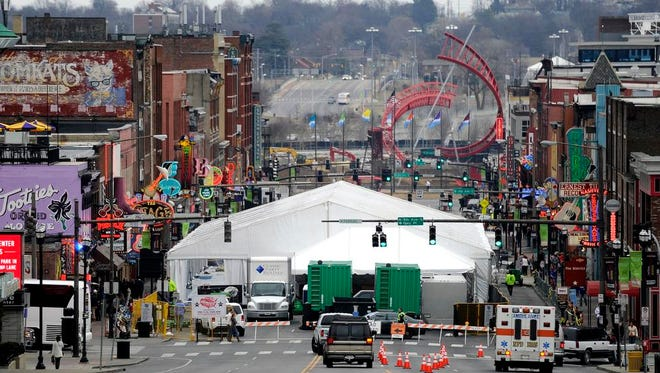 A large tent on Lower Broadway will house Sports Illustrated's swimsuit issue fan festival this week. Parts of Broadway will be closed to traffic.