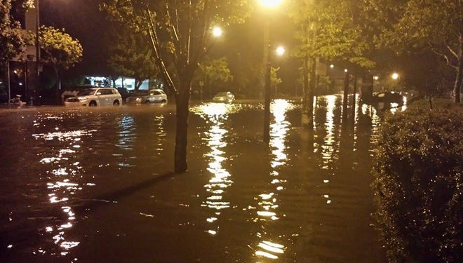 Flooding in downtown Pensacola.