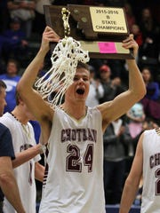 Dylan Pannabecker celebrates Choteau's second straight Class B state title in 2016 in Butte.