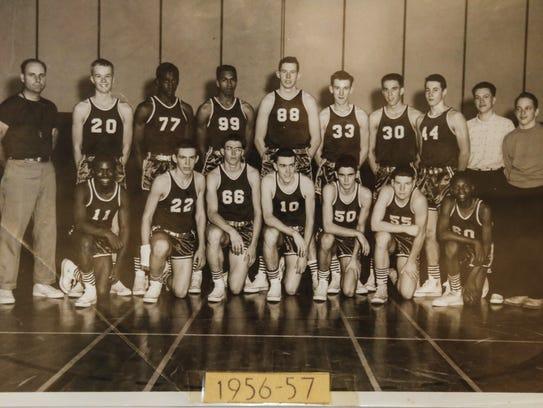 A  photo of Sexton's 1956-57 basketball team hangs