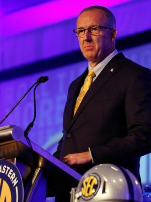 Southeastern Conference commissioner Greg Sankey speaks during SEC media day at Hyatt Regency Birmingham-The Wynfrey Hotel.