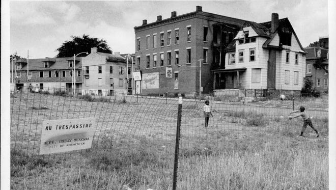 This 1970 photo near Adams and Clarissa streets shows the Corn Hill neighborhood in the midst of urban renewal.