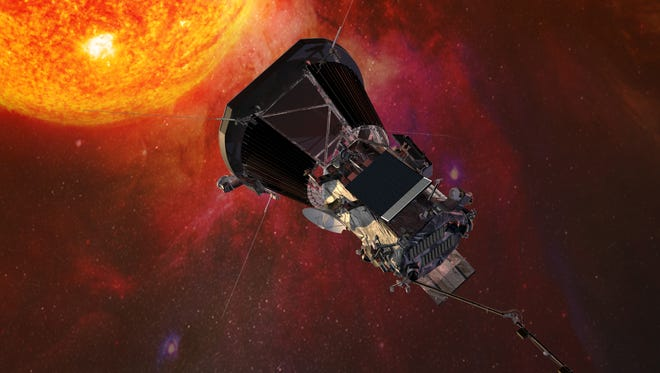 An artist's conception of what the Parker Solar Probe will look like once it's in orbit around the sun.
