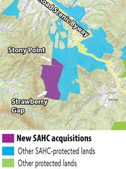 The Southern Appalachian Highlands Conservancy has recently purchased Strawberry Gap and Stony Point in the Fairview area.
