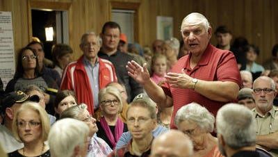 A resident speaks during the meeting Thursday night to discuss the city of Hattiesburg's wastewater disposal plans.
