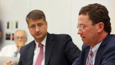 Hamilton County Commissioners Chris Monzel, left, and Greg Hartmann