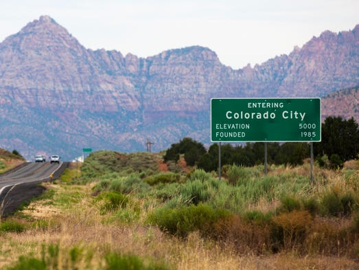 A sign welcomes visitors entering Colorado City on