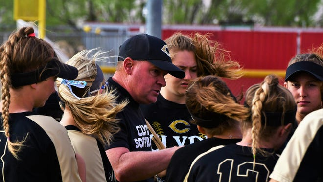 Clyde coach Reagan Sewell speaks with his team during a 10-0 win at Colorado City on Friday, April 13, 2018.