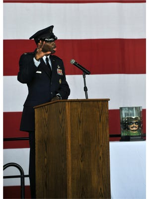 Col. Brandon Parker speaks after being officially named 7th Bomb Wing commander during a change of command ceremony at Dyess Air Force Base on Aug. 4, 2017. Parker, the first African-American Dyess commander, took over from Col. David Benson.