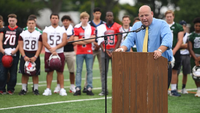 Joe Piro, the North Jersey Super Football Conference President and Athletic Director of Nutley High, speaks during the NJSFC Media Day at Clifton Stadium on Aug. 14, 2017.