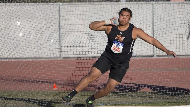 Desert Edge's Tyson Jones throws a shot put during the Chandler Rotary Classic at Chandler High School on March 25, 2017 in Chandler, Ariz.
