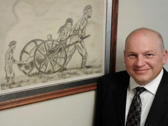 Local LDS president Marlan Hansen's office features