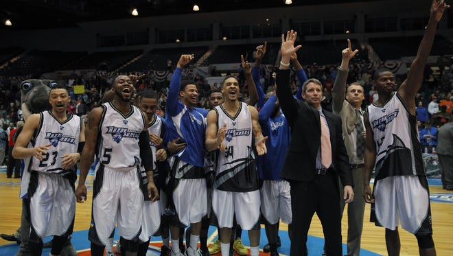 The Rochester Razorsharks acknowledge their fans after defeating the Indianapolis Diesels in the PBL Championship game at the Blue Cross Arena.