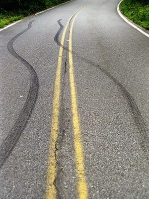 Skid marks on Clinton Road