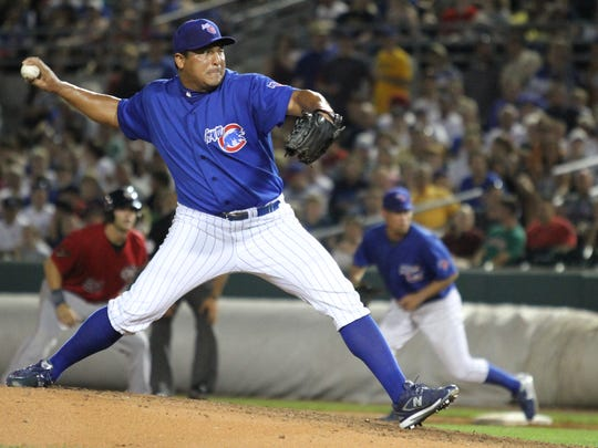 From 2010: Carlos Zambrano pitches during the seventh inning of an Iowa Cubs game against Oklahoma City at Principal Park.