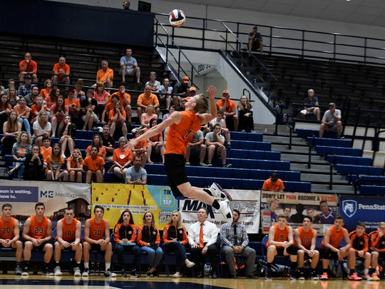 Northeastern's Alex Finch makes a leaping serve to Manheim Central during the PIAA Class 2-A Volleyball Championship last season. Finch will play his college volleyball for NCAA Division I St. Francis.