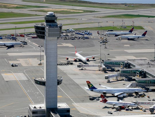 The air traffic control tower and terminals at John