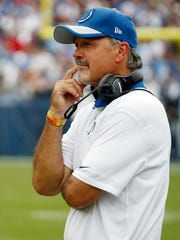 Colts coach Chuck Pagano prior to a recent NFL game.