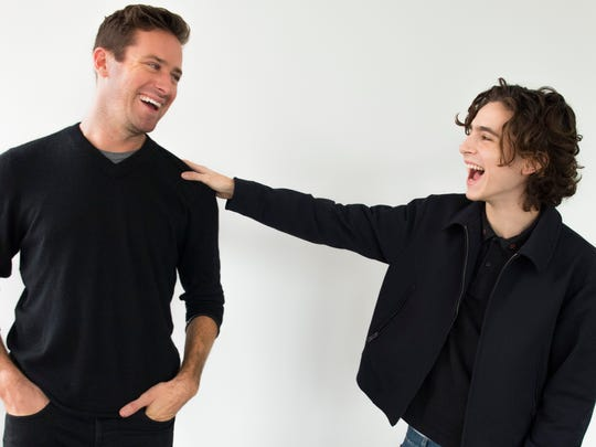 """""""I have an awesome big brother in Armie (Hammer),"""" Timothée Chalamet, right, says of his co-star."""