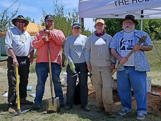 Members of the National Park Service conducted an archaeological excavation April 16-25 on an old cellar on the grounds of the Robert E. Howard Museum in Cross Plains. From left: Jeff Shanks, Jim Mitchell, Heather Young, Thadra Stanton and Bill Cavalier.