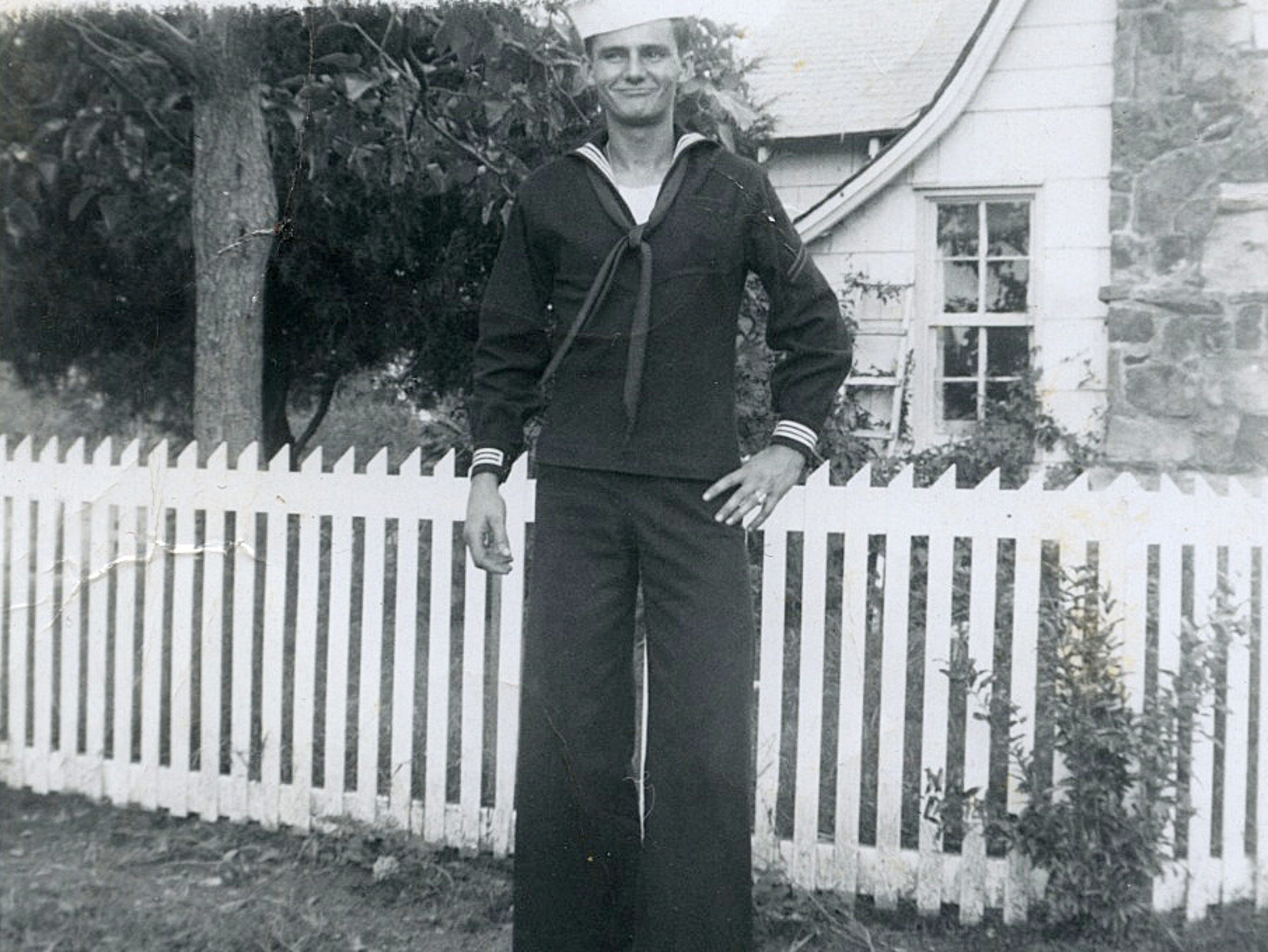 Bob Paillet poses in his U.S. Navy uniform during the